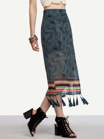 Green Tribal Print Tassel Trimmed Chiffon Skirt