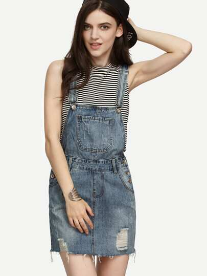 Blue Ripped Raw Hem Overall Denim Dress