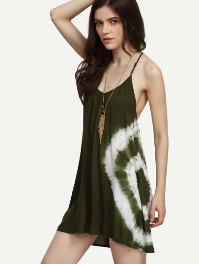 Olive Green Tie Dye Print Crochet Racerback Dress