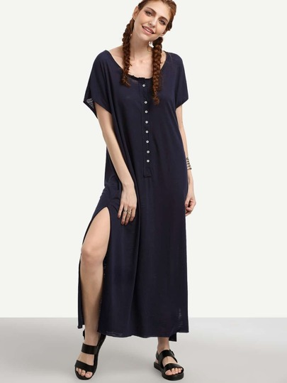 Navy Buttoned Front Loose Fit Slit Dress