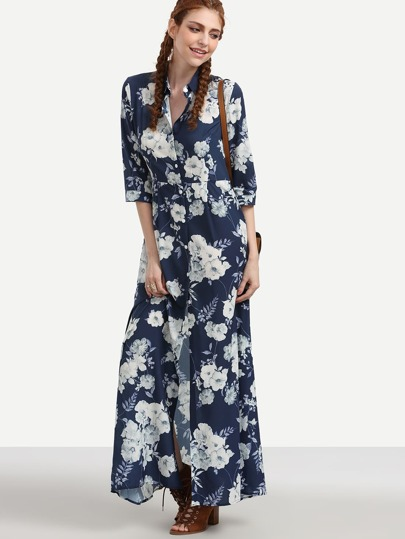 Navy Flower Print Maxi Shirt Dress