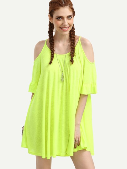 Fluorescent Yellow Ruffled Cold Shoulder Dress