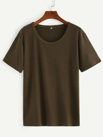 Olive Green Drop Shoulder T-shirt
