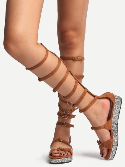 Sandales spatiales zippé bout ouvert - marron