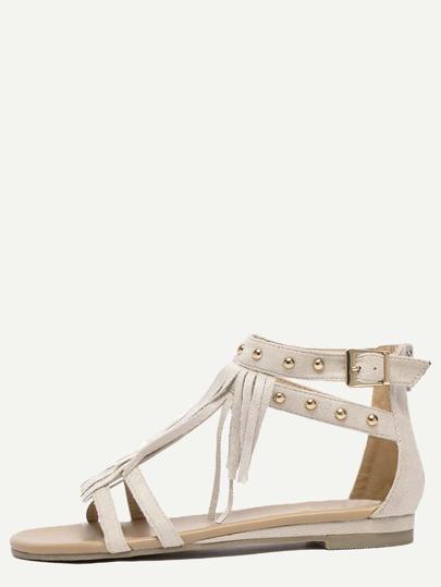 Sandales bout ouvert avec frange et rivets - gris