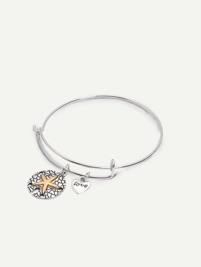 Silver Retro Heart-shaped Starfish Pendant Bracelet