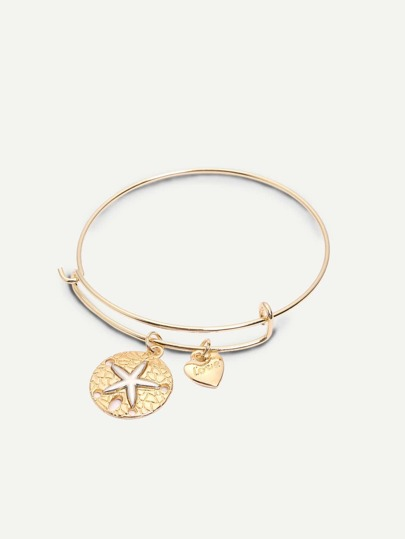 Golden Retro Heart-shaped Starfish Pendant Bracelet