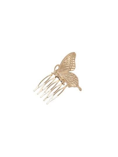 Golden Alloy Butterfly Shaped Plug Comb