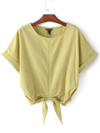 Ginger Roll-up Cuff Elastic Bow Waist Crop Blouse