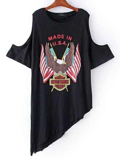 Black Cold Shoulder Eagle Printed Asymmetric T-shirt