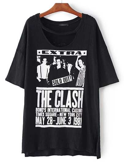 Black Letters Printed Dipped Hem Split Side T-shirt