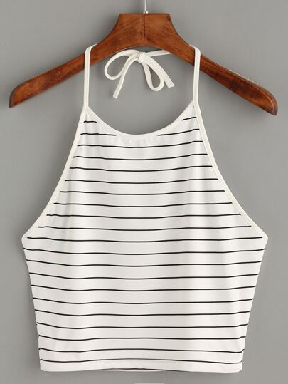 White Halter Striped Cami Top