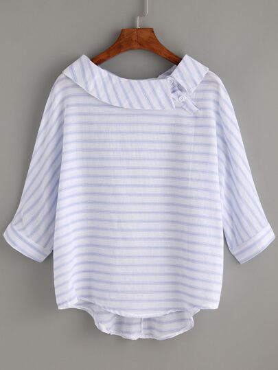 Striped Blue Boat Neck Dip Hem Shirt