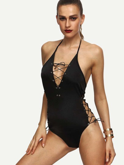Black Halter Eyelet Lace Up One Piece Swimwear