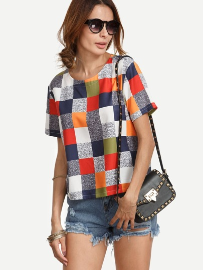 Multicolor Round Neck Plaid Casual Blouse