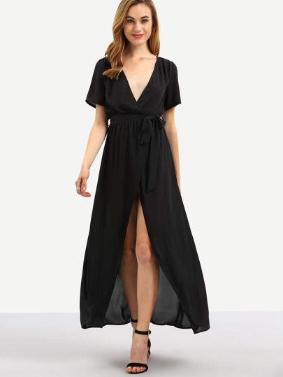 Black V-neck Split Front Maxi Dress