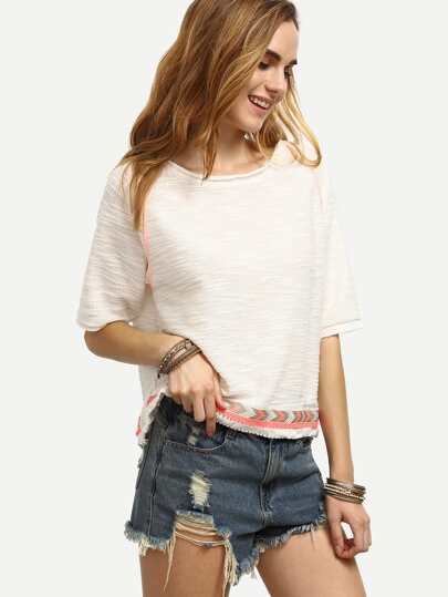 White Half Sleeve Knit Split Hem T-shirt