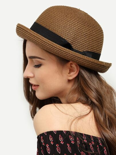Dark Coffee Rolled Brim Dome Straw Hat