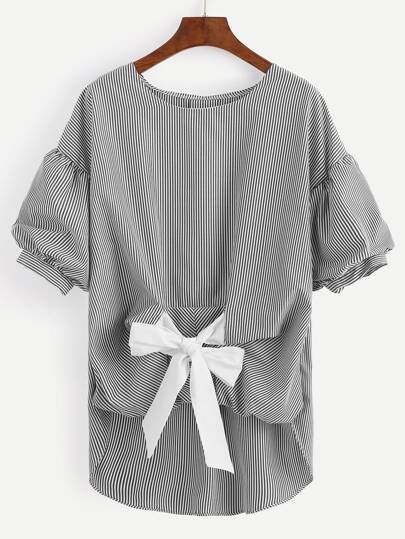 Black Striped Tie Front Lantern Sleeve Blouse