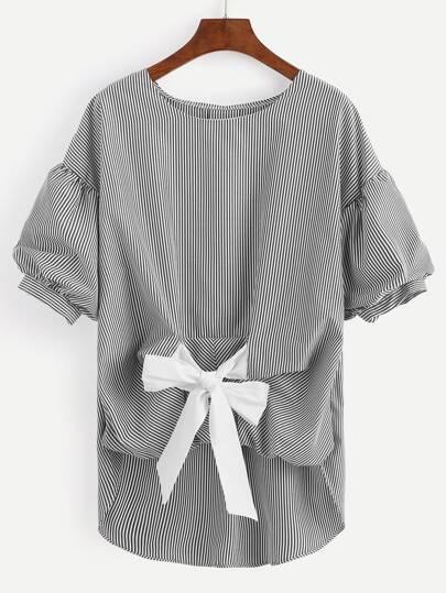 Black Striped Tie Front Lantern Sleeve Blouse