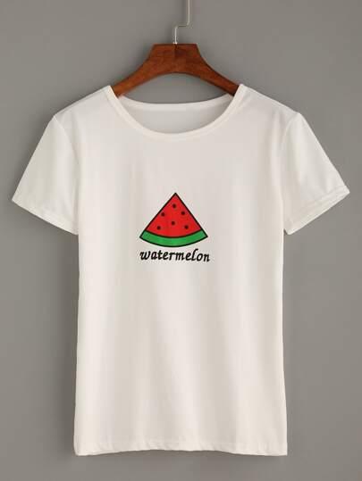 T-shirt imprimé pastèque manche courte - blanc