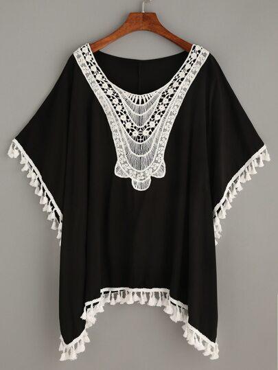 Black Crochet Insert Tassel Trim T-shirt