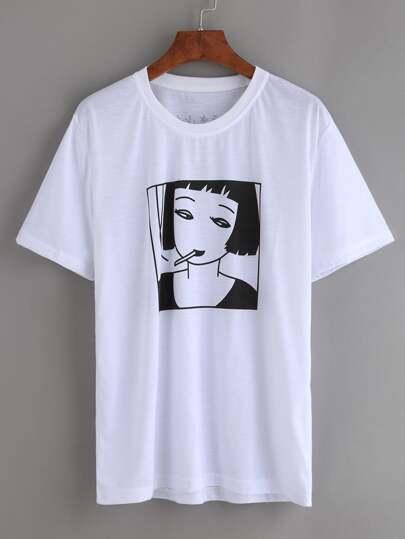 White Smoking Girl Print T-shirt