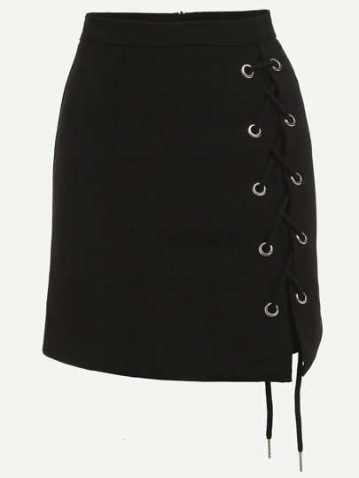 Black Eyelet Lace-Up Side Pencil Skirt
