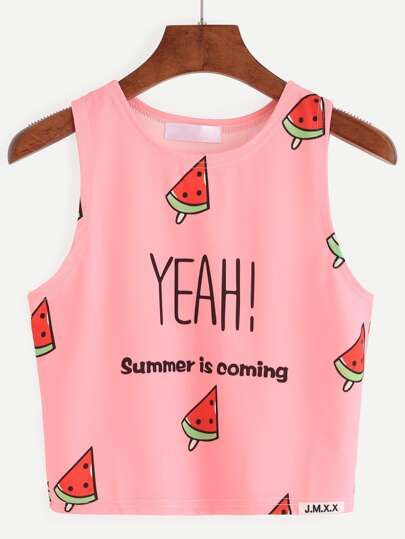 Pink Watermelon Popsicle Print Tank Top