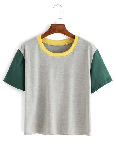 Contrast Crew Neck Grey T-shirt