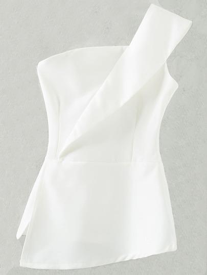 One Shoulder Top mit Reißverschluss - weiß