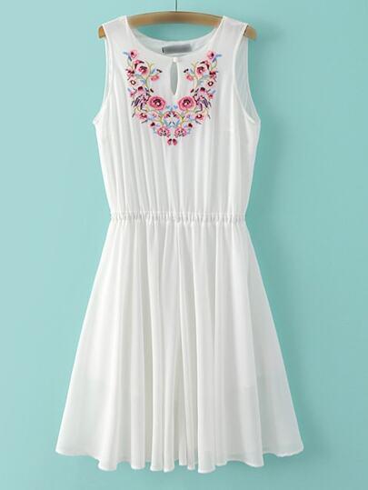 White Sleeveless Embroidery Key-hole Front Chiffon Dress