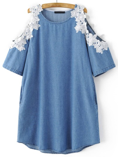 Blue Cold Shoulder Pockets Appliqued Dress