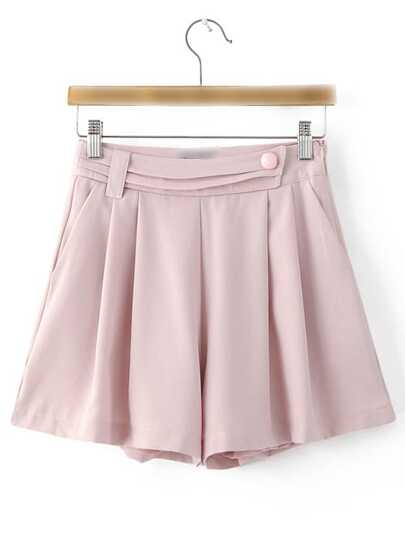 Pink Pockets Zipper Side Shorts