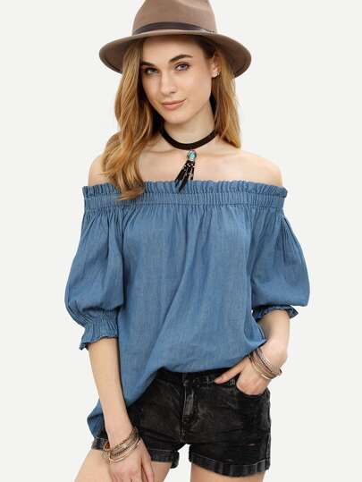 Blue Shirred Off The Shoulder Denim Blouse