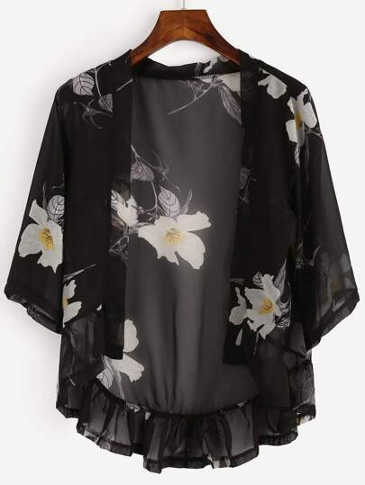 Black Flower Print Ruffled Hem Open Front Blouse