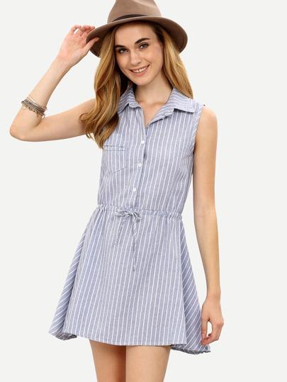 Blue Vertical Striped Drawstring Shirt Dress