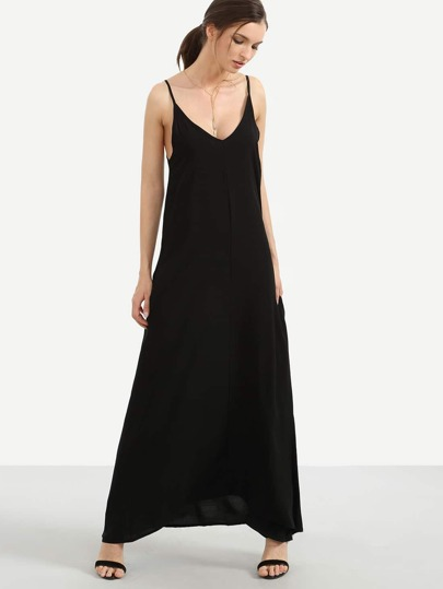 Black Loose-Fit Cami Maxi Dress With Pockets