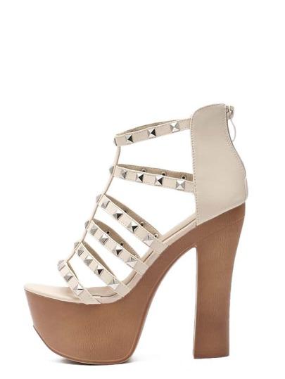 Sandales compensées avec clous - blanc cassé