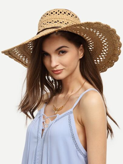 Khaki Collapsible Hollow Large Brimmed Straw Hat