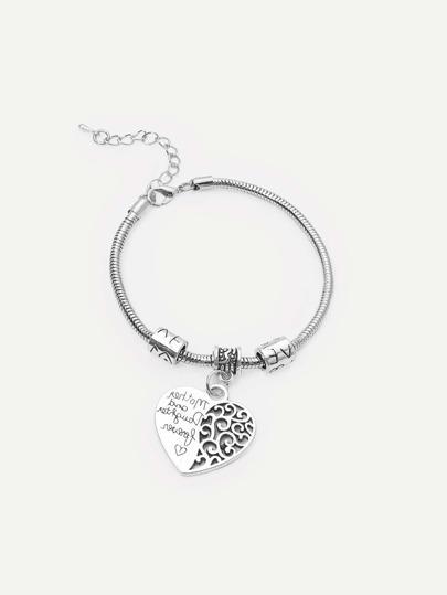 Silver Letters Hollow Pendant Alloy Bracelet