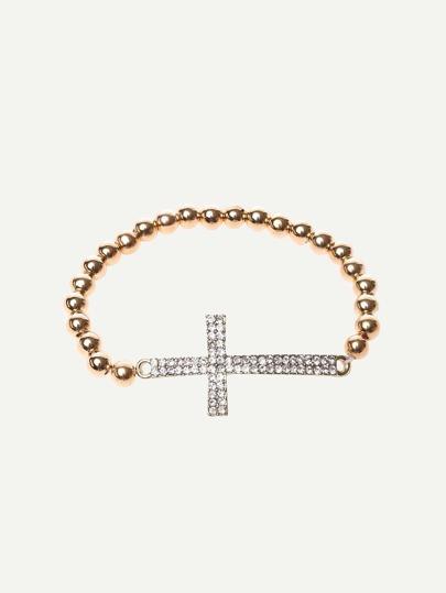 Silver Beads Cross Rhinestone Bracelet