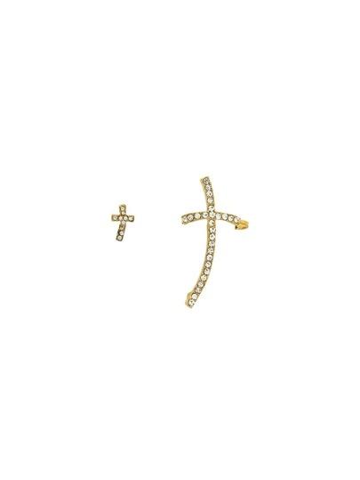 Golden Cross Rhinestone Earrings