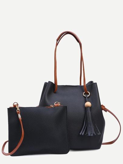 Black Tassel Trim Bucket Bag With Crossbody Bag