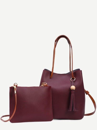 Burgundy Tassel Trim Bucket Bag With Crossbody Bag
