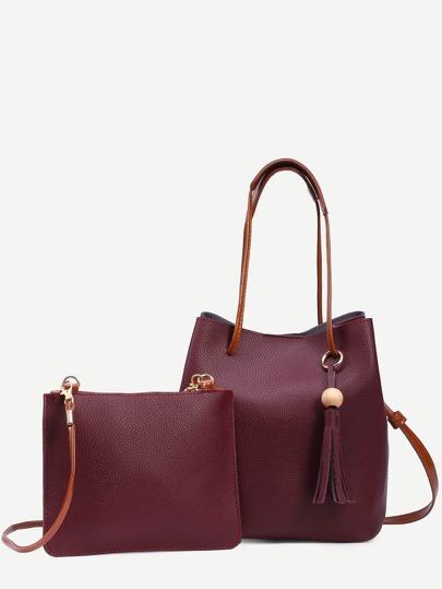 Burgundy Tassel Trim Bucket Bag With Crossbody Bag