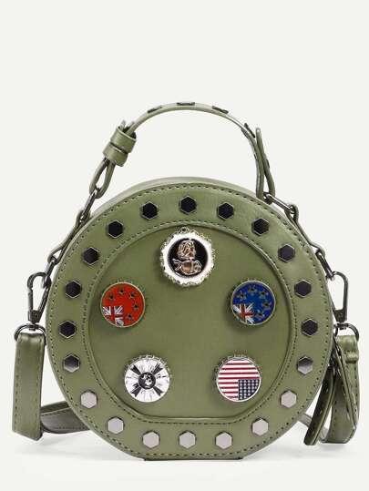 Green Metal Charm Studded Round Bag