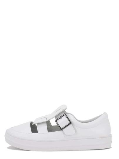 Zapatillas redonda corte suela gruesa -blanco