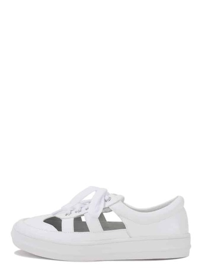 White Round Toe Cutout Thick-soled Lace-up Top Loafers