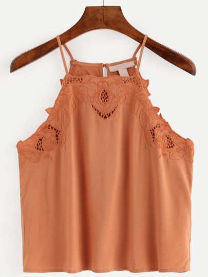 Brown Eyelet Embroidered  Cami Top
